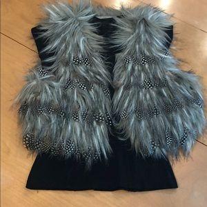 XS Bebe Fur & Feather Vest